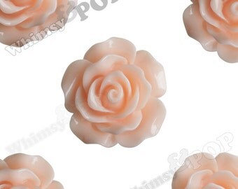 Large Detailed Shabby Chic Peach Rose Deco Resin Cabochons, Flower Shaped, 20mm Rose Cabochons, 20mm x 9mm (R1-011)