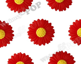 27mm - Large Matte Cherry Red Daisy Sunflower Resin Cabochons, Daisy Cabochons, Flower Cabochons, Sunflower Cabochons (R6-040)