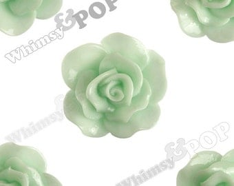 Large Seafoam Green Rose Cabochons, Flower Cabochons, Flower Cabs, Rose Flatback, 30mm x 28mm (R3-064)