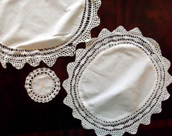 Vintage Crochet  4 Doilies Round White Shabby Chic Embroidery table topper