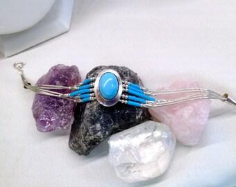 Vintage Sterling Silver & Turquoise Liquid Sterling Native American Bracelet