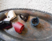 Adorable Leather Scrap Rings Set of 5