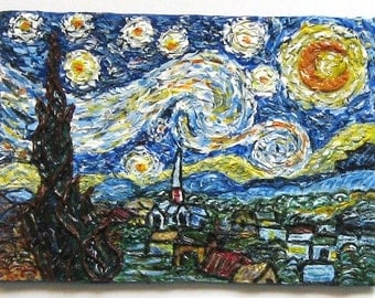 Starry Night Polymer Clay Painting