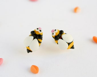 Garden Bee Post Earrings - Handmade Nature Jewelry for Girls - Insect studs