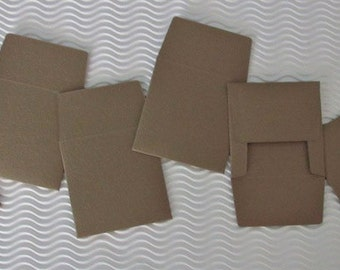 CLEARANCE SALE! 12 teeny tiny envelope note sets miniature square brown party favors weddings guest book table number love note tooth fairy