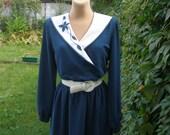 Beautiful Dress Vintage / Dark Turquoise / Elastic  Waist / Size EUR42 / UK14 / All Lining