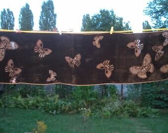 PRETTY LONG SCARF Vintage  / Brown / Chocolate / Butterflies Pattern
