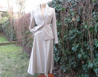 Skirt Suit Vintage / Long 2 PC Skirt Suit / Women Skirt Suit /  / Maxi / Two Piece / EUR 40 / 42 / UK12 / 14 / Beige / Jacket & Skirt