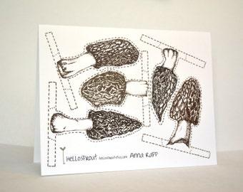 The Great Morel Mushroom Hunt, Greeting Card, Cutout, Interactive card, Make your own morels
