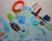 "Sharks 8"" Crinkle  Ribbon Sensory Organic Cotton Sherpa Toy"