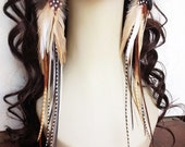 Very Long Feather Earrings - Forest Pixie - Natural Brown Boho Earrings Rooster Feather Earings Hippie Earrings
