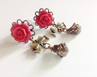 6mm 2g Dangle Plugs With Bows, 00g Body Jewelry 24 Colors 4mm 6g Rose Plugs 0g 8mm, 4g Gauged Earrings Antiqued Brass Ear Plugs Beaded Bows