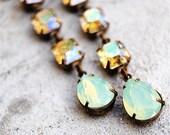 Mint Green Opal Lemon Rainbow Earrings Swarovski Crystal Rhinstone Tear Drop Earrings Post Dangle Pear Earrings Sandrine Mashugana