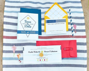 As seen on Style Me Pretty IL - Fly Kite Nautical Wedding Invitation Suite Design ------- Deposit to get started