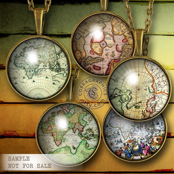 """Ancient Maps - Digital Collage Sheets CG-682C 1.5"""", 1.25"""", 30mm, 25mm, 1"""" circles - craft, jewelry making, bottle caps - digital downloads"""