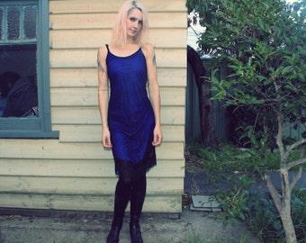 Blue flapper Sydicate dress with fringe