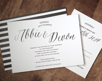 Classic Black And White Wedding Invitation Suite (Set of 25) | Wedding Invitation Set, Wedding Invites, Black and White Stripes