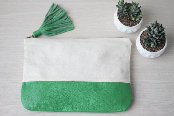 SALE Canvas and Leather Clutch Travel Make Up Pouch in Green