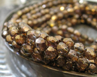 Czech Glass Beads Luster Patina Bronze Topaz Faceted Fire Polished Beads 4mm 50 pieces