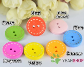 20mm Rainbow Color Wooden Round Buttons - Dotted Line - 20 PCS (WBT20-6)