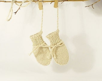 Cute baby mittens, thumbless, ecru, hand knitted 0 to12 months
