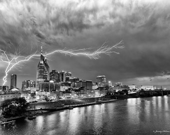 Black and white  fine art print of Nashville TN skyline with a lightning strike