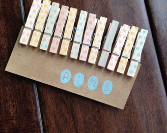 Spring Mix Dot Clothespins  - Set of 12 Handstamped Clothes Pins