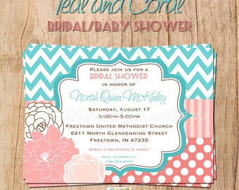 TEAL and CORAL Bridal/Baby Shower invitation - YOU Print