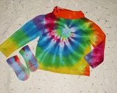 Tie dye shirt and socks, 12, 18, or 24 month sizes- long sleeved turtleneck, rainbow spiral, HIPPIE halloween costume, 300