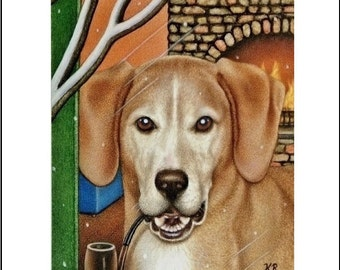dog with pipe aceo art print