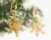 Earrings- Handmade Cute Gold Snowflake Crochet Dangle Earrings, Boho Jewelry, Christmas NewYear Winter Snow Frozen Jewelry, Holiday Earrings