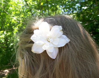 Ivory Cream Wedding Hair Flower -Romantic Vintage Wedding -  Made to Order - Pearl or Rhinestone Center