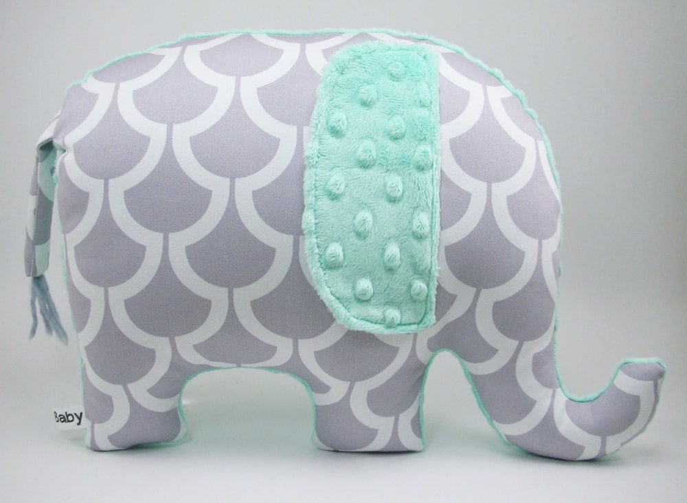 Modern gray nursery decor elephant pillow grey and seafoam for Decoration elephant