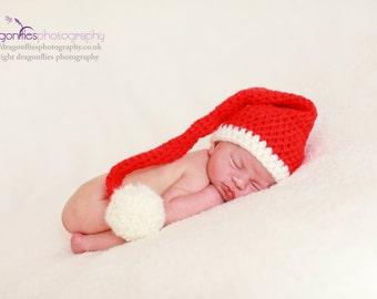 Christmas santa stocking hat. Newborn. Great photo prop