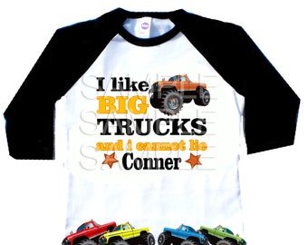 Truck raglan tshirt - I like big trucks and I cannot lie truck personalized Tshirt