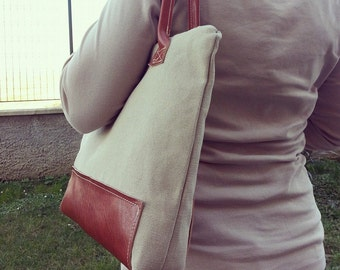 LEATHER canvas bag - CANVAS leather bag - handmade BAG - Limonta canvas bags - canvas leather bag - canvas leather - italian canvas