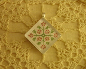 Lovely Pink and Green Applique-style Floral Glass Quilt Block Necklace