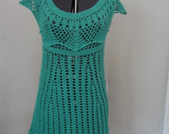 Crochet  Dress Green Cotton Size Large