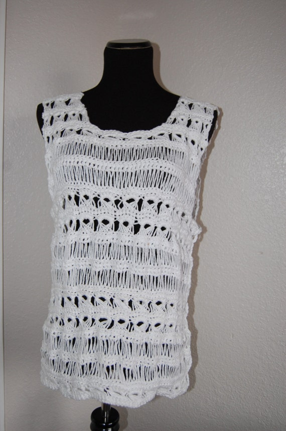 Tank Top in Broomstick Lace White Cotton Size Large
