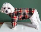 2 Leg and 4 Leg Fleece Dog Pajamas, Tan, Red and Black Plaid