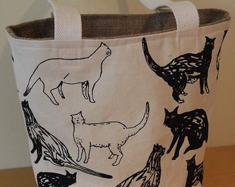 Tote Bag, Cat design, black ink