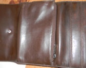 Brown Leather Wallet.CHECKBOOK slot.Nine Card pockets.checkbook holder.MINT Vintage. Lots of card room.