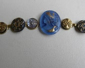VINTAGE CAMEO BUTTON Bracelet HandPainted Czech Glass etched in 24k Gold Peacock Blues Xmas sale was 95
