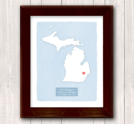 MICHIGAN art print - Personalized Home decor Custom text Wedding gift Bridal shower Housewarming gift  Larger size for wedding guest book