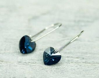 Small Heart Earrings Blue Heart Earrings Gift For Girlfriend Sapphire Blue Earrings Minimalist Jewelry Royal Blue Crystal Earrings