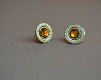 410 Shotgun Shell Bullet Earrings Stud with Topaz Crystals