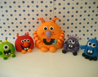 Monster Edible Cake Toppers -  Set of 5