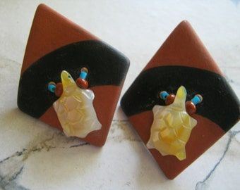 Southwestern Yellow Shell Turtle Fetish Clay Earrings