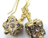 "Dice Rhinestone Earrings, Gold Tone, Inspired by Book ""Dicey"""
