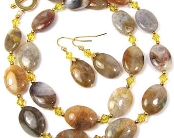 Lace Agate Necklace Earrings Combo, Russian Lace Agate and Light Topaz Swarovski Crystal Necklace and Earring Set